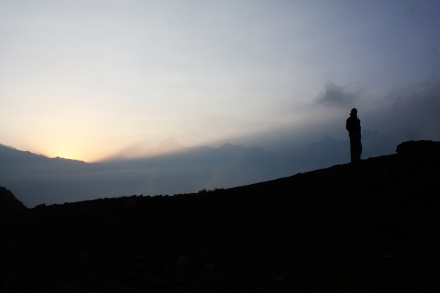 This picture was taken at dawn on the last day of my trek at Dhakwani, a little before the meadows and woods of Gorson.